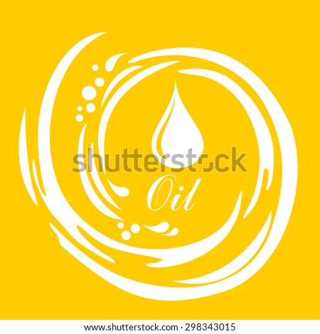 oil drop. Yellow background with drop of oil and place for your text. Vector Illustration - stock vector