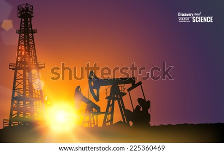 Oil field over sunset. Vector illustration. - stock vector