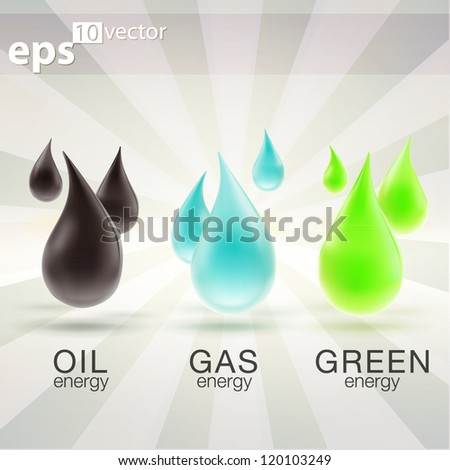 Oil, gas and eco-friendly energy resources drops emblems as eps10 vector icon illustration - stock vector