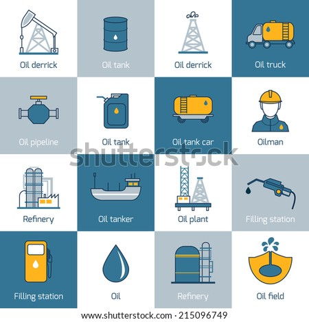 Oil gas fuel and petroleum flat line icons set with refinery tanker barrel isolated vector illustration - stock vector