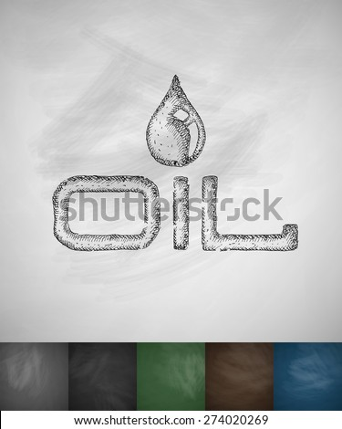 OIL icon. Hand drawn vector illustration. Chalkboard Design - stock vector