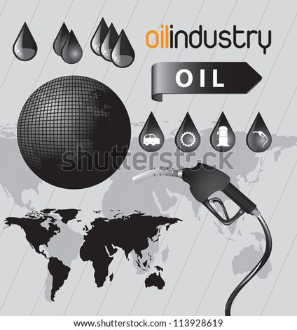 oil icon in the world over gray background vector illustration - stock vector