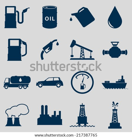 Oil Icons Set - stock vector