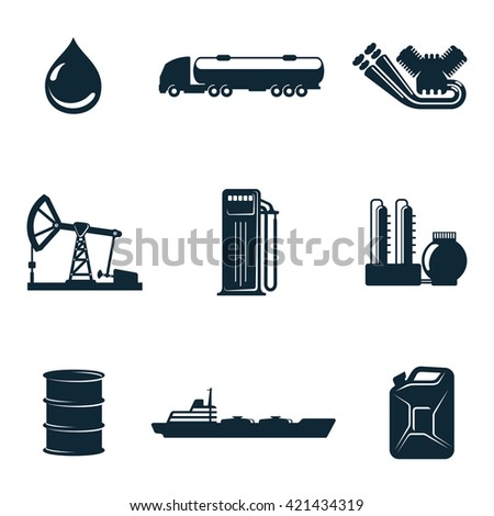 Oil icons, vector icons isolate on a white background, a set of  gasoline filling station with fuel tankers and a barrel of gasoline icons, oil station manufacturing  and marketing of oil icons - stock vector