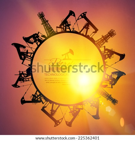 Oil industrial circle border on the sunset background. Vector illustration. - stock vector