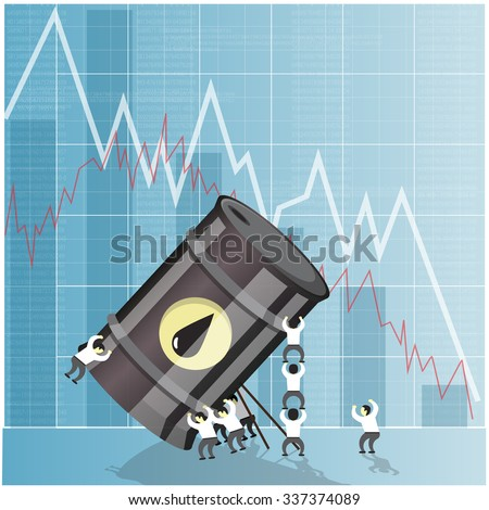 Oil industry crisis concept. Drop in crude oil prices. Financial markets vector illustration. - stock vector
