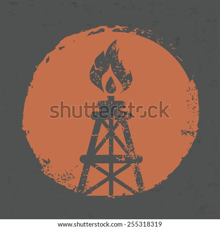 Oil industry design on grunge background, grunge vector - stock vector