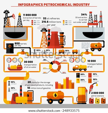 Oil industry extraction processing and transportation infographics set with charts vector illustration - stock vector