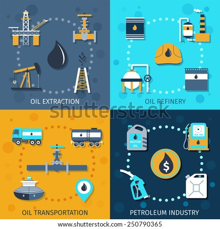 Oil industry flat icons set with extraction refinery transportation petroleum isolated vector illustration - stock vector