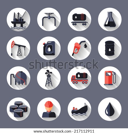 Oil industry fossil conservation and transportation icons set isolated vector illustration - stock vector