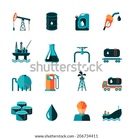 Oil industry gasoline processing symbols icons set in flat style with tanker truck petroleum can and pump isolated vector illustration - stock vector