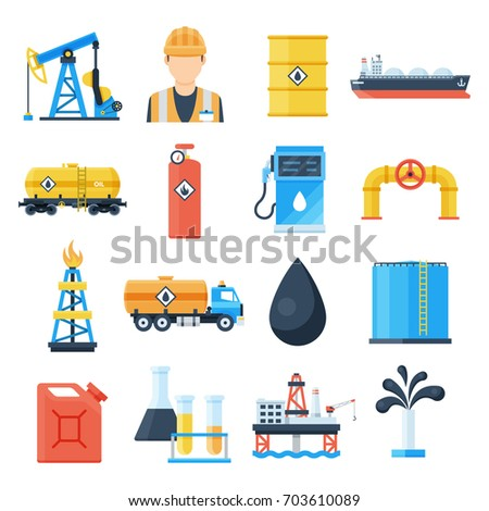 Oil industry icon. Petroleum business, exporter of natural energy, developing oil and gas field. Vector flat style cartoon illustration isolated on white background