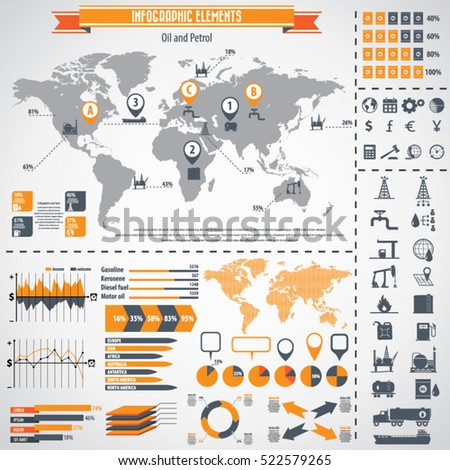 Oil industry icon set and infographics. Vector icons. Eps10 vector