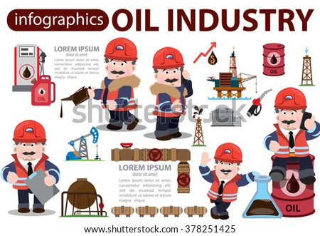 Oil industry icons, characters, infographics. - stock vector