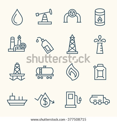 Oil industry line icons - stock vector
