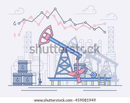 Oil industry, pumps, trade. Graph of price changes and profits. Line vector illustration