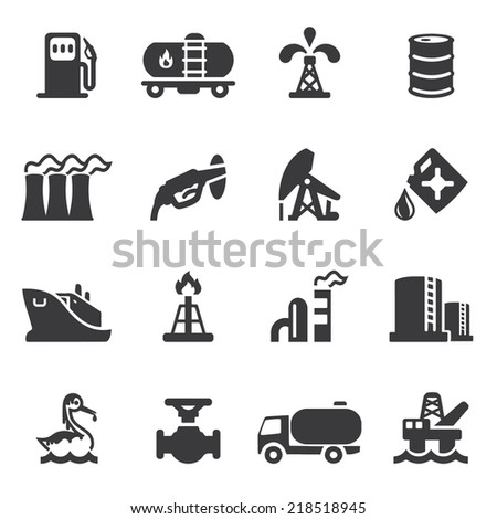 Oil Industry Silhouette icons - stock vector