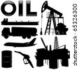 Oil industry silhouettes. Vector - stock vector