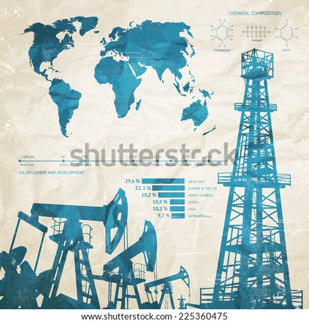 Oil infographics with oil pumps and derrick. Vector illustration. - stock vector