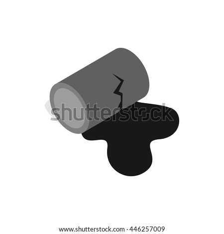 Oil is spilling from the barrel icon in isometric 3d style on a white background - stock vector