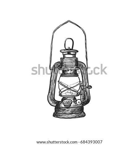 Oil Lamp Vintage Stock Vector 684393007 - Shutterstock