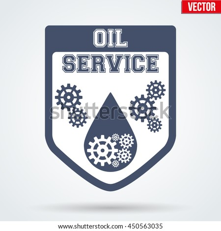 Oil Motor Service Signs and Label with tags and pistons. Emblem of car technical support. - stock vector