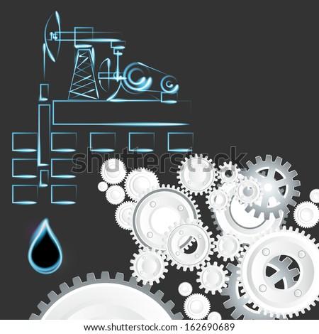 oil, oil well, cogwheel  - stock vector