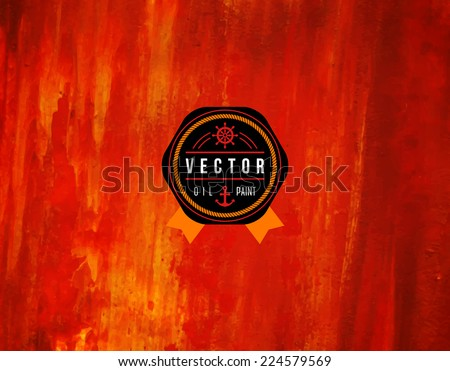 Oil painted background. Vector illustration. Abstract backdrop. Black emblem with ribbon and rope frame.  - stock vector