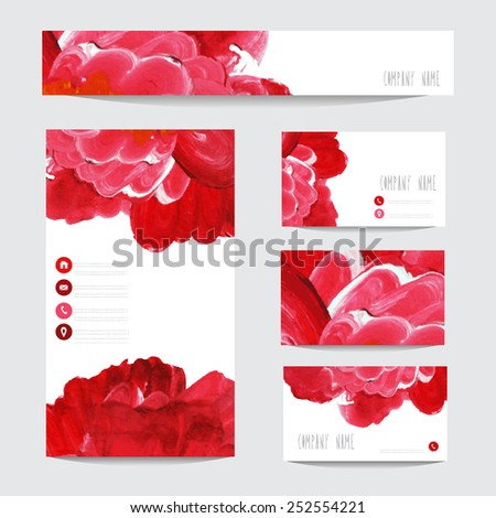 Oil painted business card templates red stock vector 252554221 oil painted business card templates in red colors design elements can be used also reheart Images
