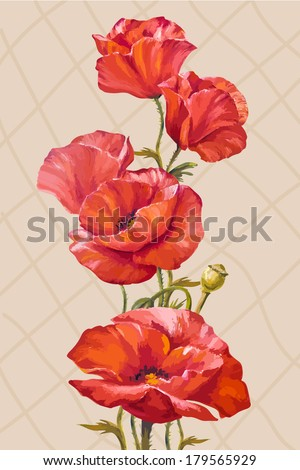 Oil painting. Card with poppies flowers - stock vector