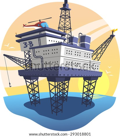Oil Platform floating over the sea with helicopter, vector illustration cartoon. - stock vector