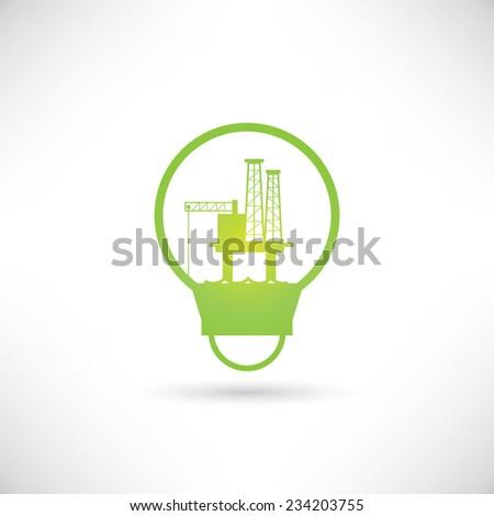 oil platform in bulb, go green concept, save energy - stock vector
