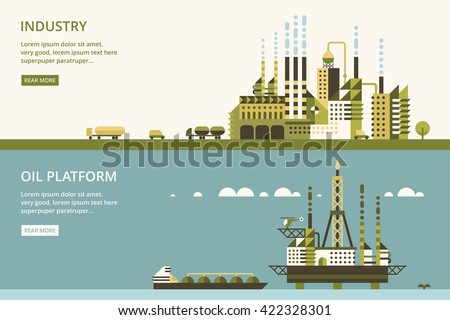 Oil platform in sea background.  industry factory. Industrial illustration in flat style. - stock vector