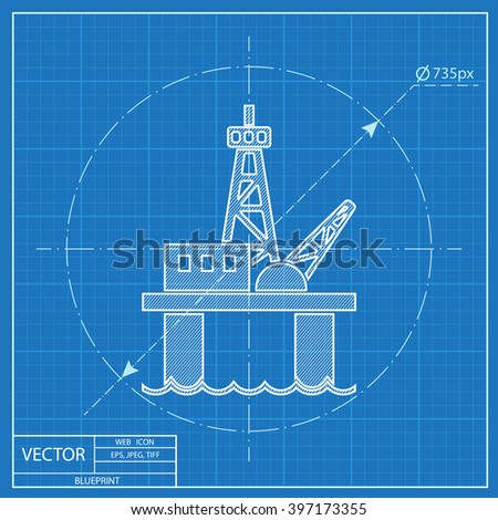 Oil platform vector blueprint icon