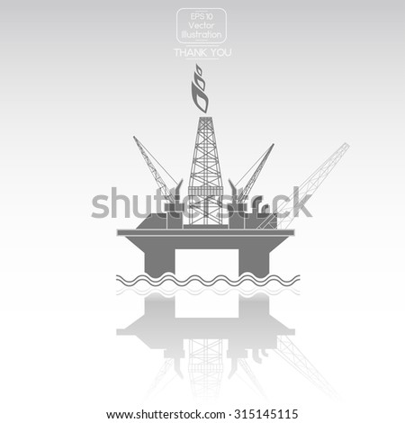 Oil Platform. Vector icon - stock vector