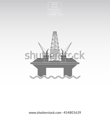 Oil platform. Vector icon. - stock vector