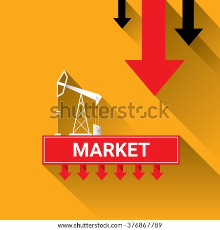 Oil price falling down graph illustration. vector illustration background - stock vector