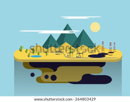 Oil production in the desert. Flat Vector Illustration - stock vector