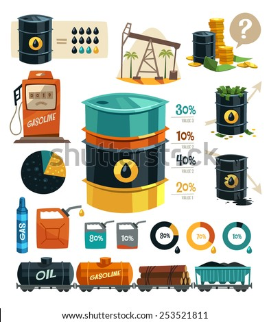 Oil Production. Infographic elements. Vector illustration. - stock vector
