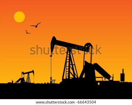 Oil Pump and orange sunset, vector illustration - stock vector