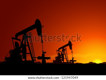 Oil Pump Backlit Vector Background
