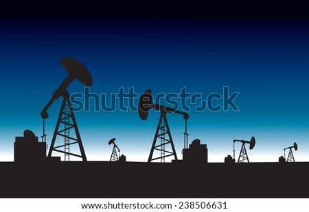 Oil pump field at dawn background.vector illustration - stock vector