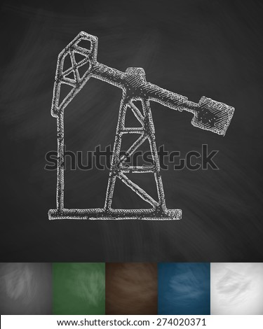 oil pump icon. Hand drawn vector illustration. Chalkboard Design - stock vector