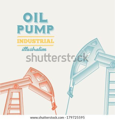 Oil pump jack silhouette design. Vector illustration. - stock vector