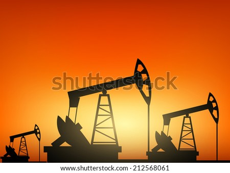 Oil pump oil rig energy industrial machine  - stock vector