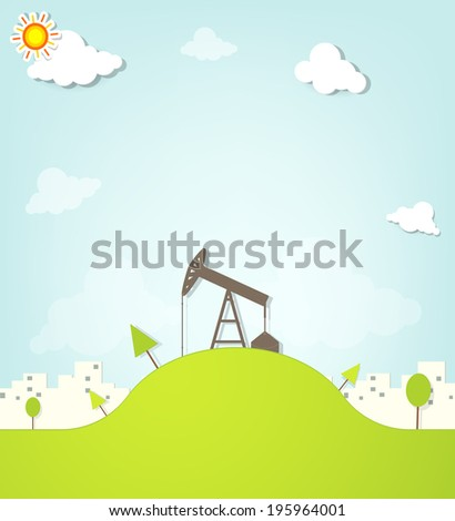 Oil pump on a hill next to the city - stock vector