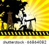 Oil Pump on abstract background, vector illustration - stock vector
