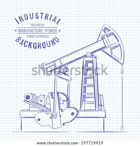 Oil pump on blue squared paper. Vector illustration. - stock vector
