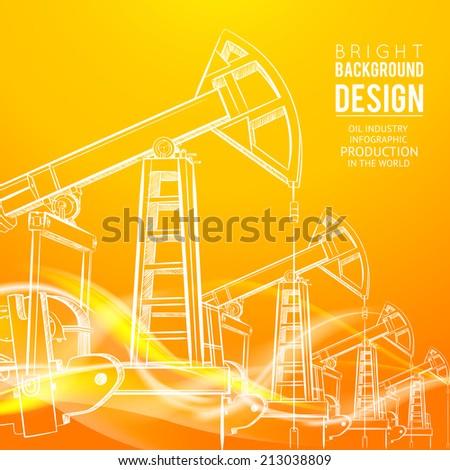 Oil Pump on orange background. Vector illustration. - stock vector