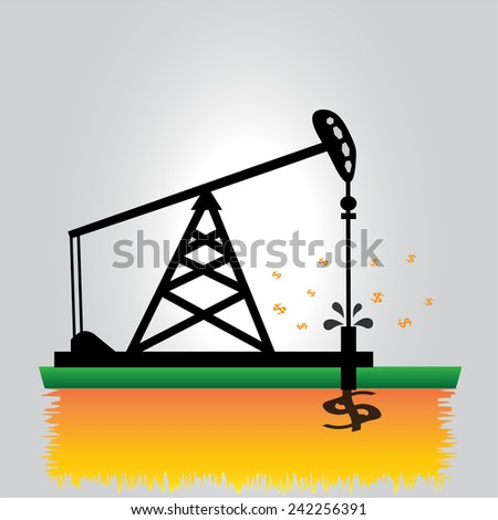 Oil pump onshore production field vector
